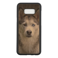 Carved Slim Case for Samsung Galaxy S8+, Maple Wood with Siberian Husky Phone Cases design