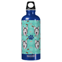 Husky Portrait Water Bottle
