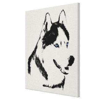 Husky Print Stretched Siberian Husky Dog Canvas
