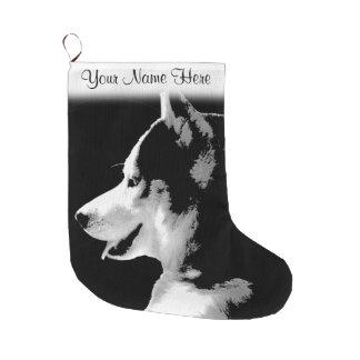 Husky Pup Christmas Stocking Custom Husky Stocking Large Christmas Stocking