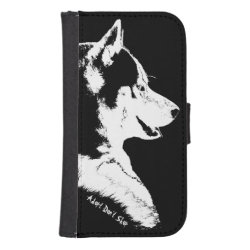 Samsung Galaxy S4 Wallet Case with Siberian Husky Phone Cases design