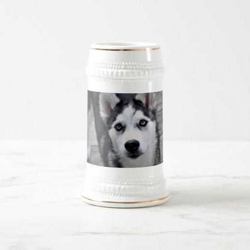 Husky Puppy Beer Stein 18 Oz Beer Stein