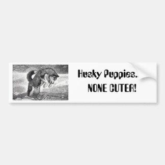 Husky Puppy Car Bumper Sticker