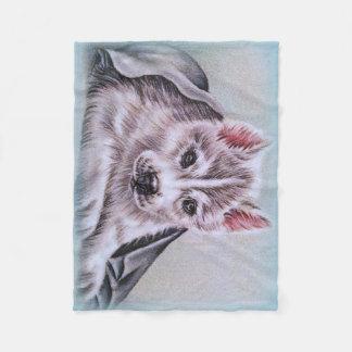 husky puppy pet portrait drawing dog art gift fleece blanket
