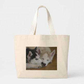 Husky pups tote bags
