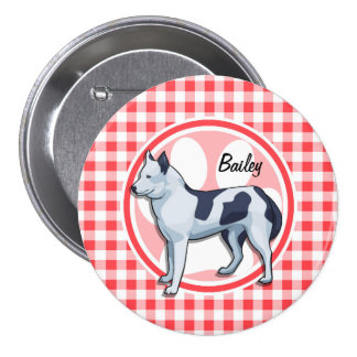 Husky; Red and White Gingham Pin