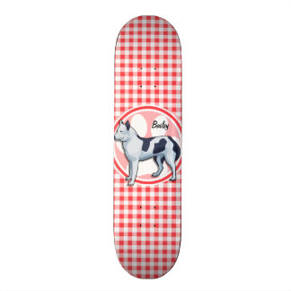 Husky; Red and White Gingham Skateboard