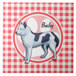 Husky; Red and White Gingham Tile