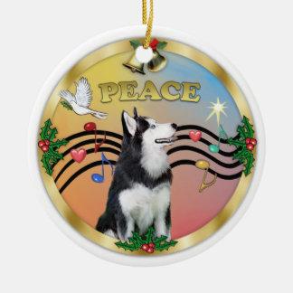 Husky siberiano 1 de la música 3 de Navidad - PAZ Adorno Navideño Redondo De Cerámica