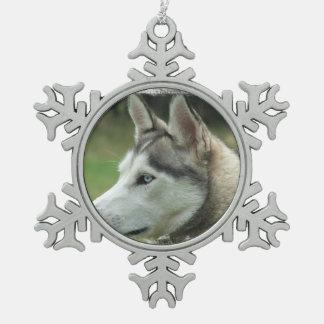 Husky siberiano adorno de peltre en forma de copo de nieve