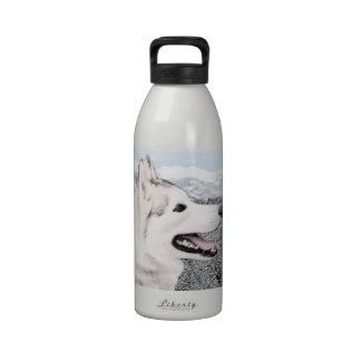 Husky siberiano botallas de agua