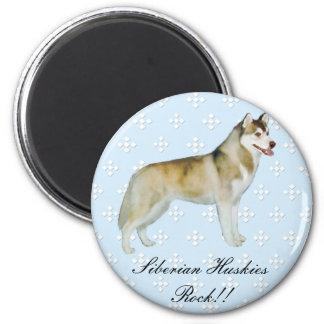 Husky siberiano - azul con el diseño blanco del imán redondo 5 cm