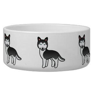 Husky siberiano blanco y negro del dibujo animado boles para gatos