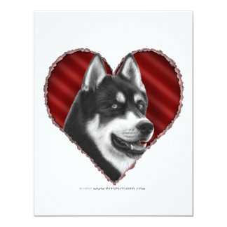 """Husky siberiano con el corazón invitación 4.25"""" x 5.5"""""""