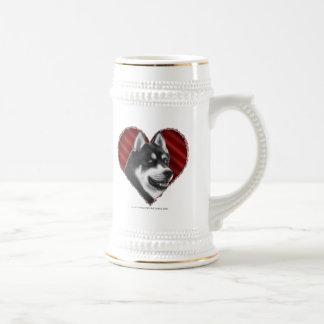 Husky siberiano con el corazón tazas