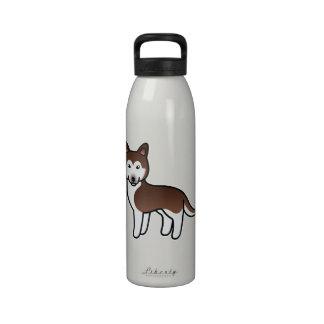 Husky siberiano de cobre del dibujo animado botallas de agua