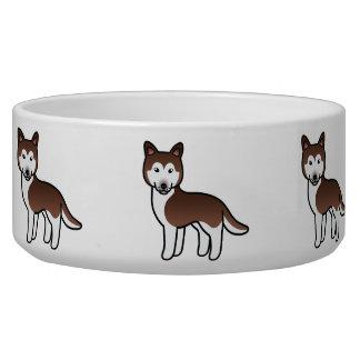 Husky siberiano de cobre del dibujo animado tazones para perrros
