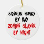 Husky siberiano del asesino del zombi ornamentos para reyes magos
