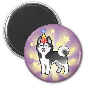 Husky siberiano del cumpleaños/Malamute de Alaska Imán Redondo 5 Cm