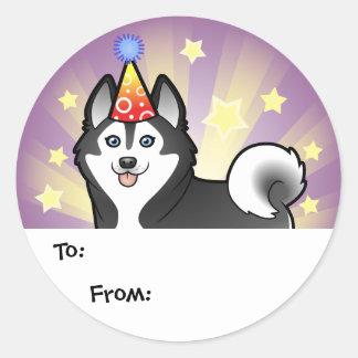 Husky siberiano del cumpleaños/Malamute de Alaska Pegatina Redonda