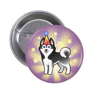 Husky siberiano del cumpleaños/Malamute de Alaska Pin Redondo De 2 Pulgadas