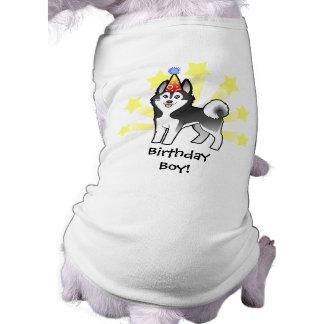 Husky siberiano del cumpleaños/Malamute de Alaska Playera Sin Mangas Para Perro