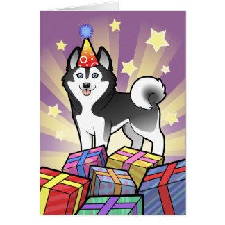Husky siberiano del cumpleaños/Malamute de Alaska Tarjeta De Felicitación