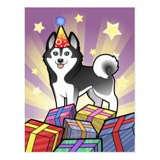 Husky siberiano del cumpleaños/Malamute de Alaska Tarjeta Postal