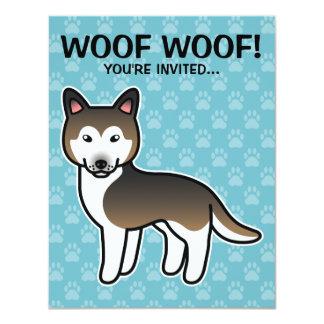 """Husky siberiano del dibujo animado del Sable Invitación 4.25"""" X 5.5"""""""