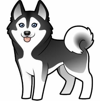Husky siberiano del dibujo animado/Malamute de Ala Esculturas Fotograficas