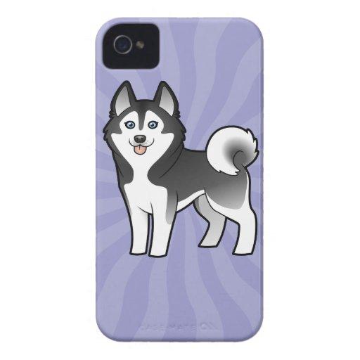 Husky siberiano del dibujo animado/Malamute de Ala iPhone 4 Carcasa