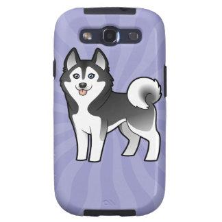 Husky siberiano del dibujo animado/Malamute de Ala Samsung Galaxy S3 Fundas