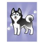 Husky siberiano del dibujo animado/Malamute de Ala Tarjetas Postales
