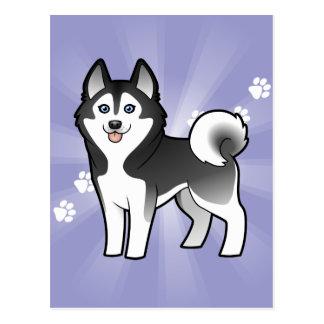 Husky siberiano del dibujo animado/Malamute de Tarjetas Postales