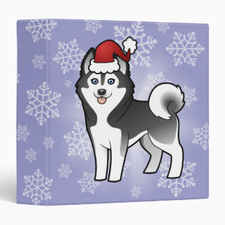"Husky siberiano del navidad/Malamute de Alaska Carpeta 1 1/2"""