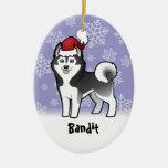 Husky siberiano del navidad/Malamute de Alaska Adorno De Navidad