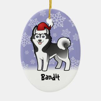 Husky siberiano del navidad/Malamute de Alaska Adorno Ovalado De Cerámica
