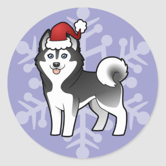 Husky siberiano del navidad/Malamute de Alaska Pegatina Redonda