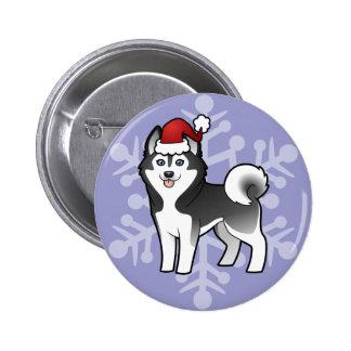 Husky siberiano del navidad/Malamute de Alaska Pin Redondo De 2 Pulgadas