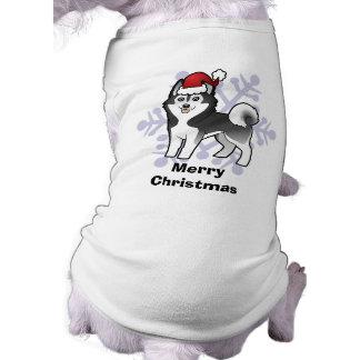Husky siberiano del navidad/Malamute de Alaska Playera Sin Mangas Para Perro