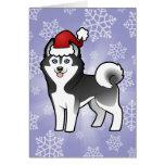 Husky siberiano del navidad/Malamute de Alaska Tarjeta De Felicitación