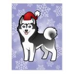 Husky siberiano del navidad/Malamute de Alaska Tarjeta Postal
