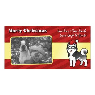 Husky siberiano del navidad/Malamute de Alaska Tarjetas Fotograficas Personalizadas