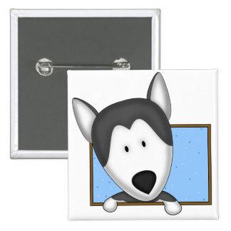 Husky siberiano enmarcado del dibujo animado pin cuadrada 5 cm