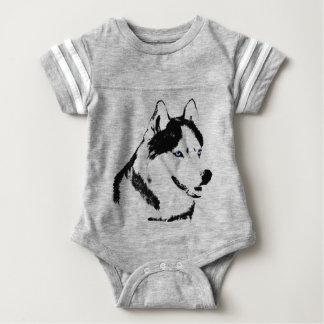 Husky siberiano fornido del bebé del mono del bebé playera