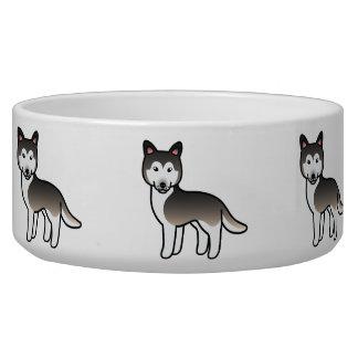 Husky siberiano gris del dibujo animado del lobo boles para gatos