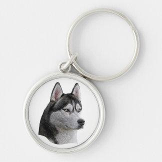 Husky siberiano - imagen estilizada - añada su tex llavero redondo plateado