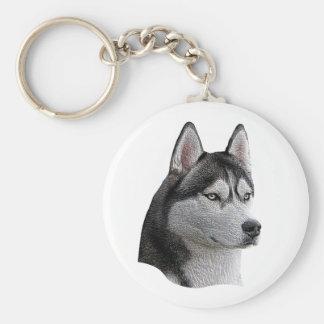 Husky siberiano - imagen estilizada - añada su tex llavero redondo tipo pin