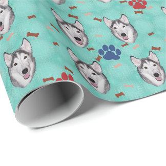 Husky siberiano papel de regalo