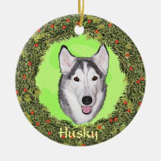 Husky siberiano para Navidad Adorno Redondo De Cerámica